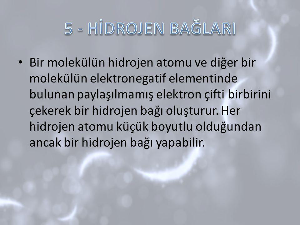 Bir molekülün hidrojen atomu ve diğer bir molekülün elektronegatif elementinde bulunan paylaşılmamış elektron çifti birbirini çekerek bir hidrojen bağ