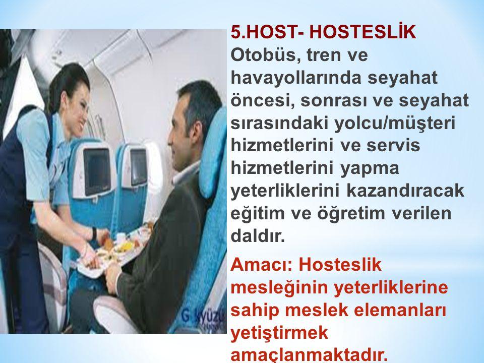 5.HOST- HOSTESLİK Otobüs, tren ve havayollarında seyahat öncesi, sonrası ve seyahat sırasındaki yolcu/müşteri hizmetlerini ve servis hizmetlerini yapm