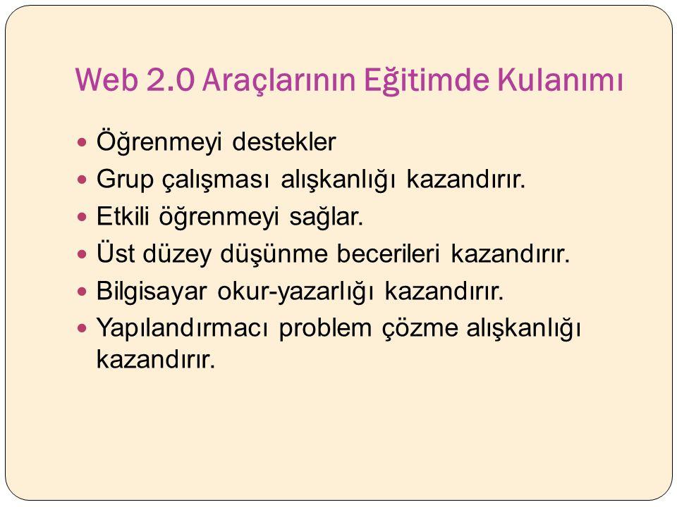 Web 2.0 Araçlarının Eğitimde Kulanımı Öğrenmeyi destekler Grup çalışması alışkanlığı kazandırır.