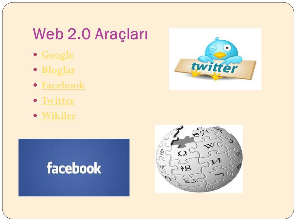 Web 2.0 Araçları Google Bloglar Facebook Twitter Wikiler