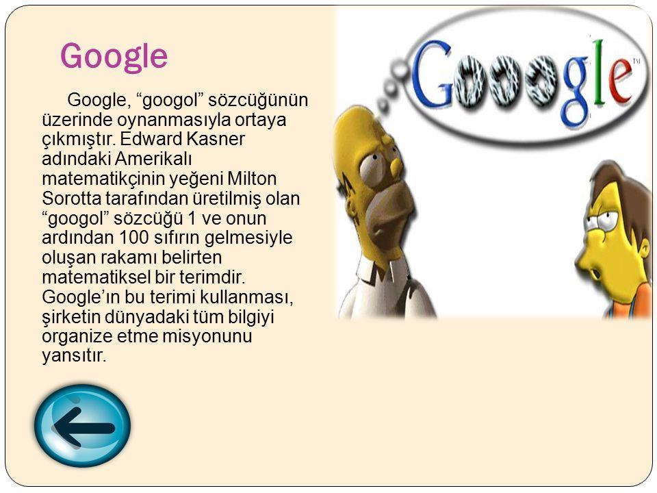 Google Google, googol sözcüğünün üzerinde oynanmasıyla ortaya çıkmıştır.