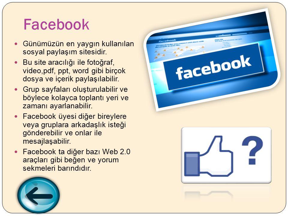 Facebook Günümüzün en yaygın kullanılan sosyal paylaşım sitesidir.