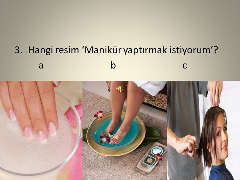 3.Hangi resim 'Manikür yaptırmak istiyorum'? abc