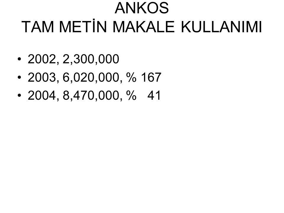 ANKOS TAM METİN MAKALE KULLANIMI 2002, 2,300,000 2003, 6,020,000, % 167 2004, 8,470,000, % 41