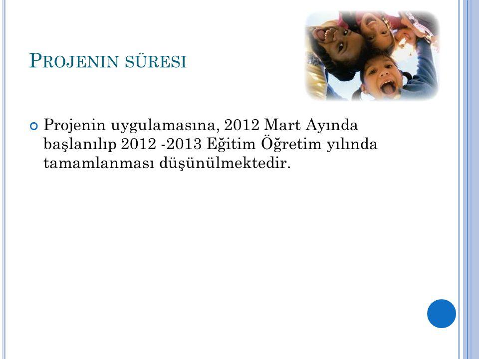P ROJENIN SÜRESI Projenin uygulamasına, 2012 Mart Ayında başlanılıp 2012 -2013 Eğitim Öğretim yılında tamamlanması düşünülmektedir.