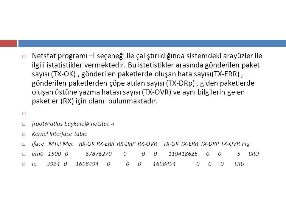  Netstat programı –i seçeneği ile çalıştırıldığında sistemdeki arayüzler ile ilgili istatistikler vermektedir. Bu istetistikler arasında gönderilen p