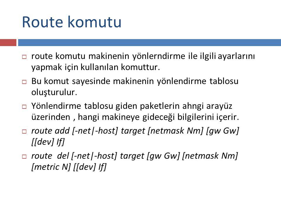 Route komutu  route komutu makinenin yönlerndirme ile ilgili ayarlarını yapmak için kullanılan komuttur.  Bu komut sayesinde makinenin yönlendirme t