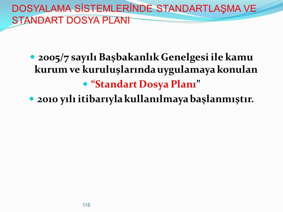 118 DOSYALAMA SİSTEMLERİNDE STANDARTLAŞMA VE STANDART DOSYA PLANI 2005/7 sayılı Başbakanlık Genelgesi ile kamu kurum ve kuruluşlarında uygulamaya konu