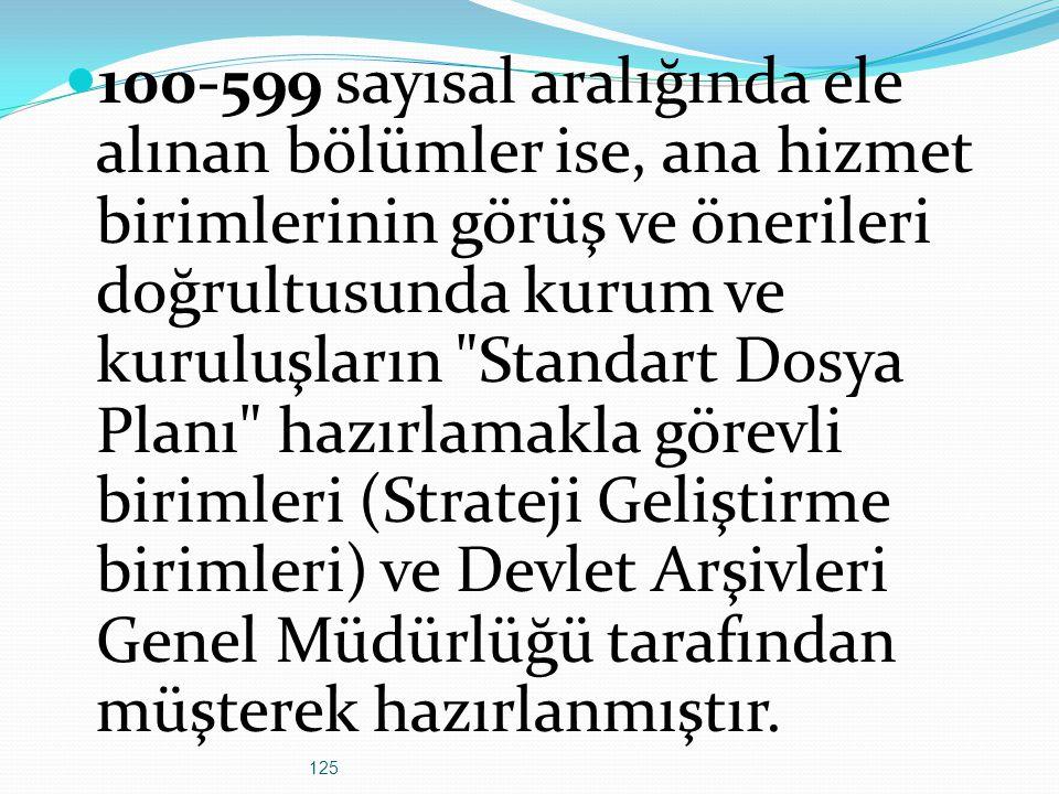 125 100-599 sayısal aralığında ele alınan bölümler ise, ana hizmet birimlerinin görüş ve önerileri doğrultusunda kurum ve kuruluşların