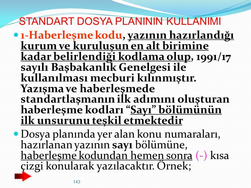 143 STANDART DOSYA PLANININ KULLANIMI 1-Haberleşme kodu, yazının hazırlandığı kurum ve kuruluşun en alt birimine kadar belirlendiği kodlama olup, 1991
