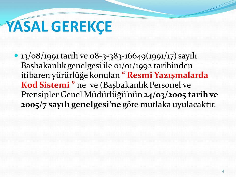 """4 YASAL GEREKÇE 13/08/1991 tarih ve 08-3-383-16649(1991/17) sayılı Başbakanlık genelgesi ile 01/01/1992 tarihinden itibaren yürürlüğe konulan """" Resmi"""