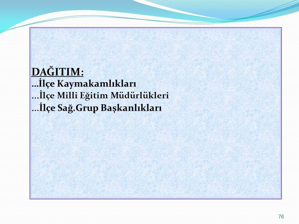 76 DAĞITIM: …İlçe Kaymakamlıkları … İlçe Milli Eğitim Müdürlükleri … İlçe Sağ.Grup Başkanlıkları