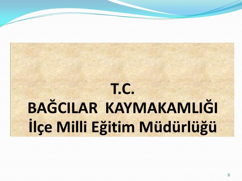 9 T.C. BAĞCILAR KAYMAKAMLIĞI İlçe Milli Eğitim Müdürlüğü