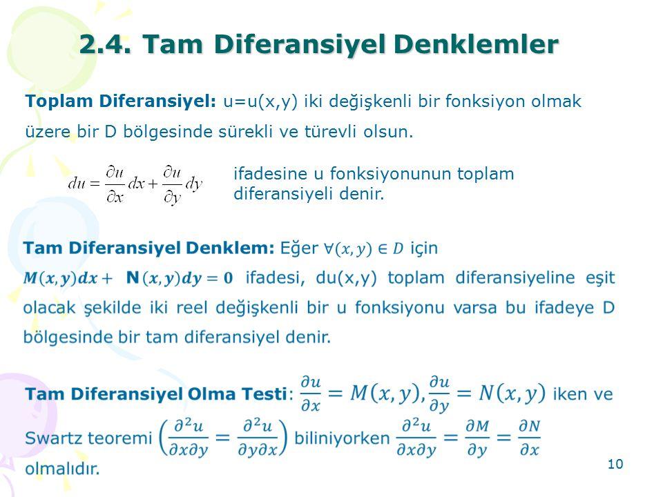 10 2.4. Tam DiferansiyelDenklemler 2.4. Tam Diferansiyel Denklemler Toplam Diferansiyel: u=u(x,y) iki değişkenli bir fonksiyon olmak üzere bir D bölge
