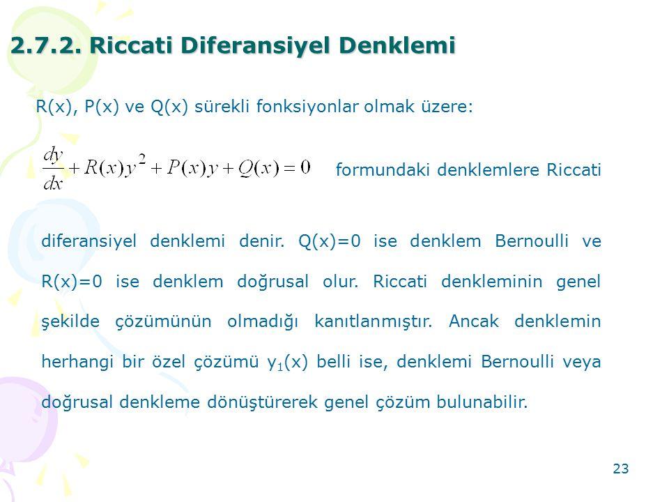 23 2.7.2. Riccati Diferansiyel Denklemi R(x), P(x) ve Q(x) sürekli fonksiyonlar olmak üzere: formundaki denklemlere Riccati diferansiyel denklemi deni