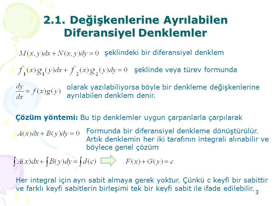 3 2.1. Değişkenlerine Ayrılabilen DiferansiyelDenklemler 2.1. Değişkenlerine Ayrılabilen Diferansiyel Denklemler şeklindeki bir diferansiyel denklem ş