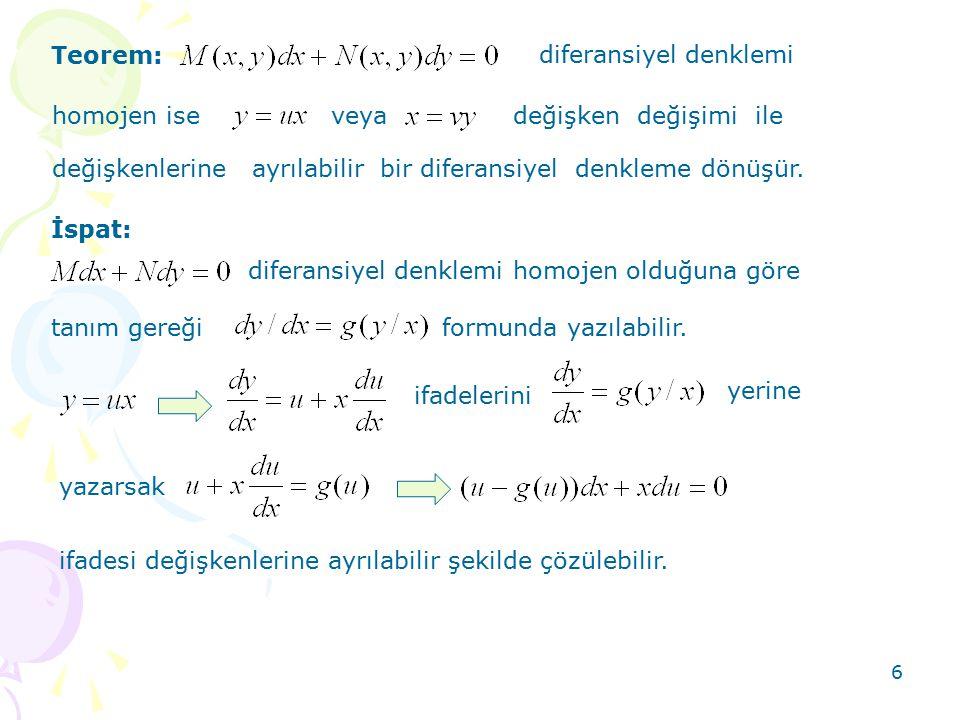 6 Teorem: diferansiyel denklemi homojen iseveya değişken değişimi ile değişkenlerine ayrılabilir bir diferansiyel denkleme dönüşür. diferansiyel denkl