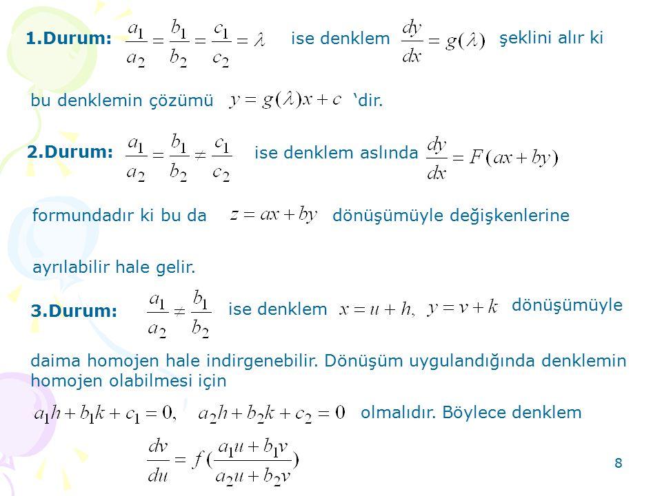 8 1.Durum:ise denklem şeklini alır ki bu denklemin çözümü 'dir. 2.Durum: ise denklem aslında formundadır ki bu dadönüşümüyle değişkenlerine ayrılabili