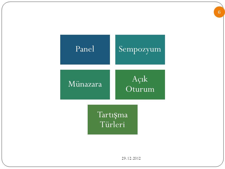 PanelSempozyum Münazara Açık Oturum Tartı ş ma Türleri 6