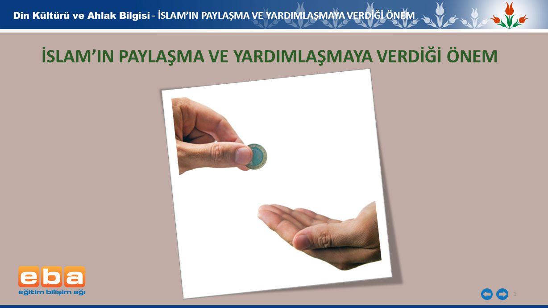 1 - İSLAM'IN PAYLAŞMA VE YARDIMLAŞMAYA VERDİĞİ ÖNEM İSLAM'IN PAYLAŞMA VE YARDIMLAŞMAYA VERDİĞİ ÖNEM