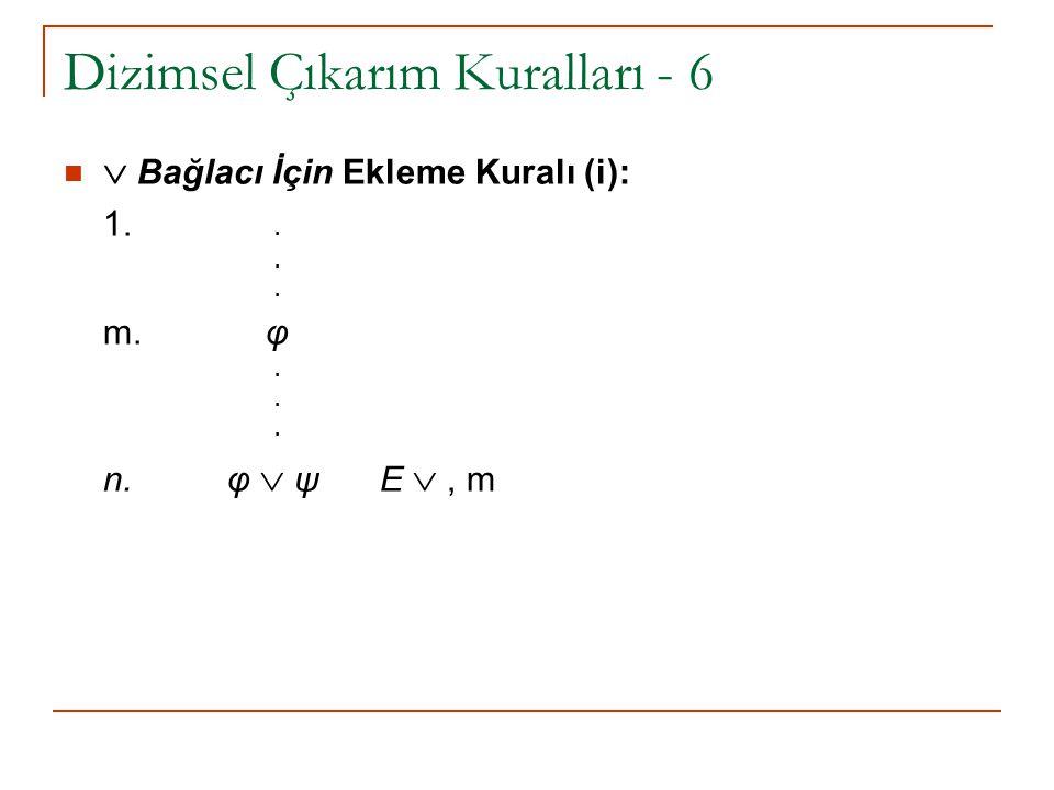Dizimsel Çıkarım Kuralları - 6  Bağlacı İçin Ekleme Kuralı (i): 1... m. φ. n. φ  ψ E , m