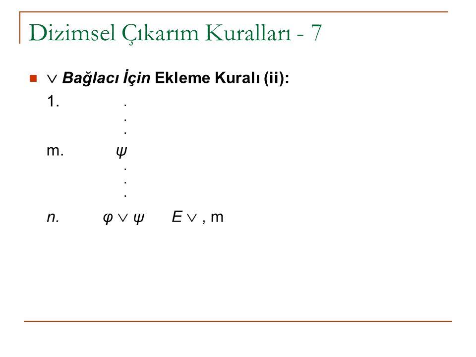 Dizimsel Çıkarım Kuralları - 7  Bağlacı İçin Ekleme Kuralı (ii): 1... m. ψ. n. φ  ψ E , m