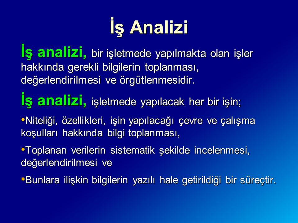 İş Analizi İş analizi, bir işletmede yapılmakta olan işler hakkında gerekli bilgilerin toplanması, değerlendirilmesi ve örgütlenmesidir. İş analizi, i