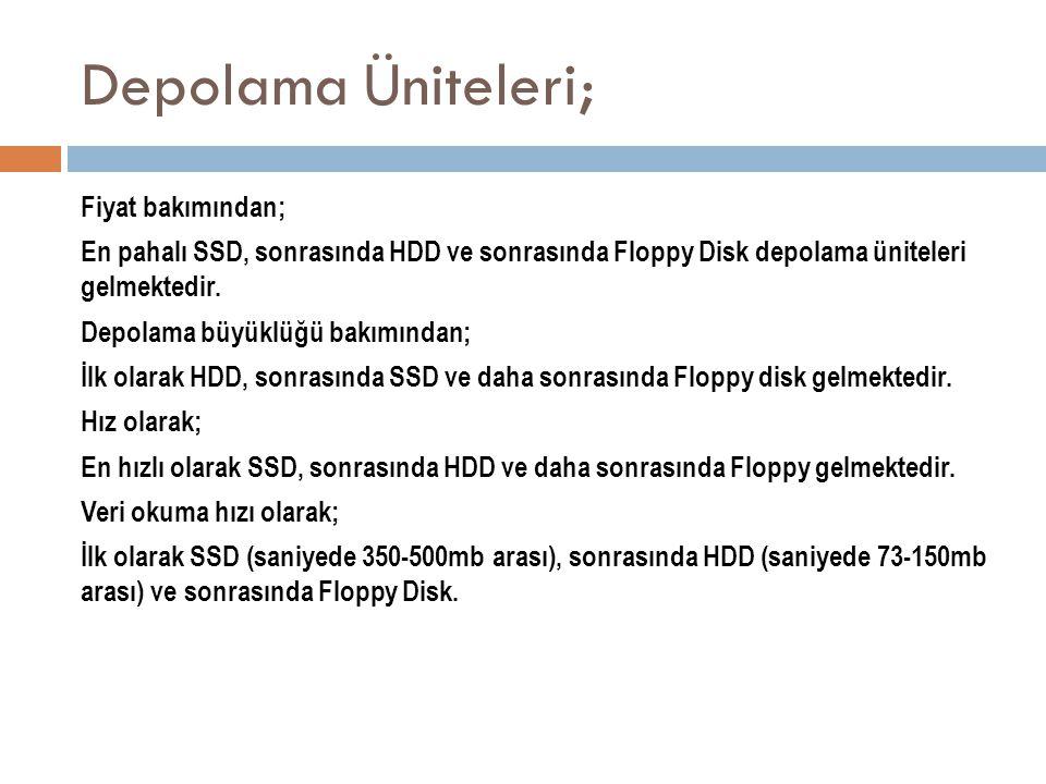Depolama Üniteleri; Fiyat bakımından; En pahalı SSD, sonrasında HDD ve sonrasında Floppy Disk depolama üniteleri gelmektedir. Depolama büyüklüğü bakım
