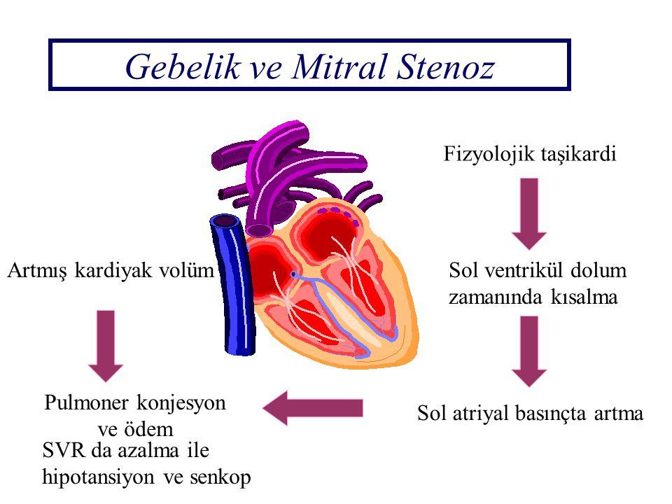 Gebelik ve Mitral Stenoz Artmış kardiyak volüm Pulmoner konjesyon ve ödem Fizyolojik taşikardi Sol ventrikül dolum zamanında kısalma Sol atriyal basın