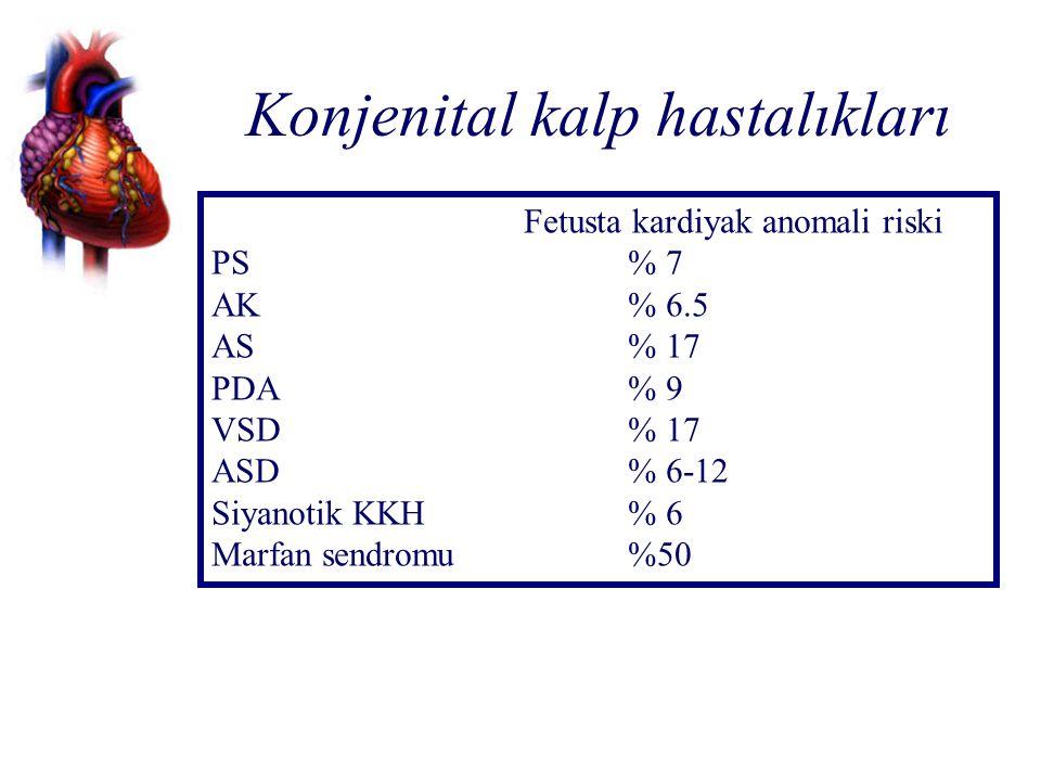 Konjenital kalp hastalıkları Fetusta kardiyak anomali riski PS% 7 AK% 6.5 AS% 17 PDA% 9 VSD % 17 ASD% 6-12 Siyanotik KKH% 6 Marfan sendromu%50
