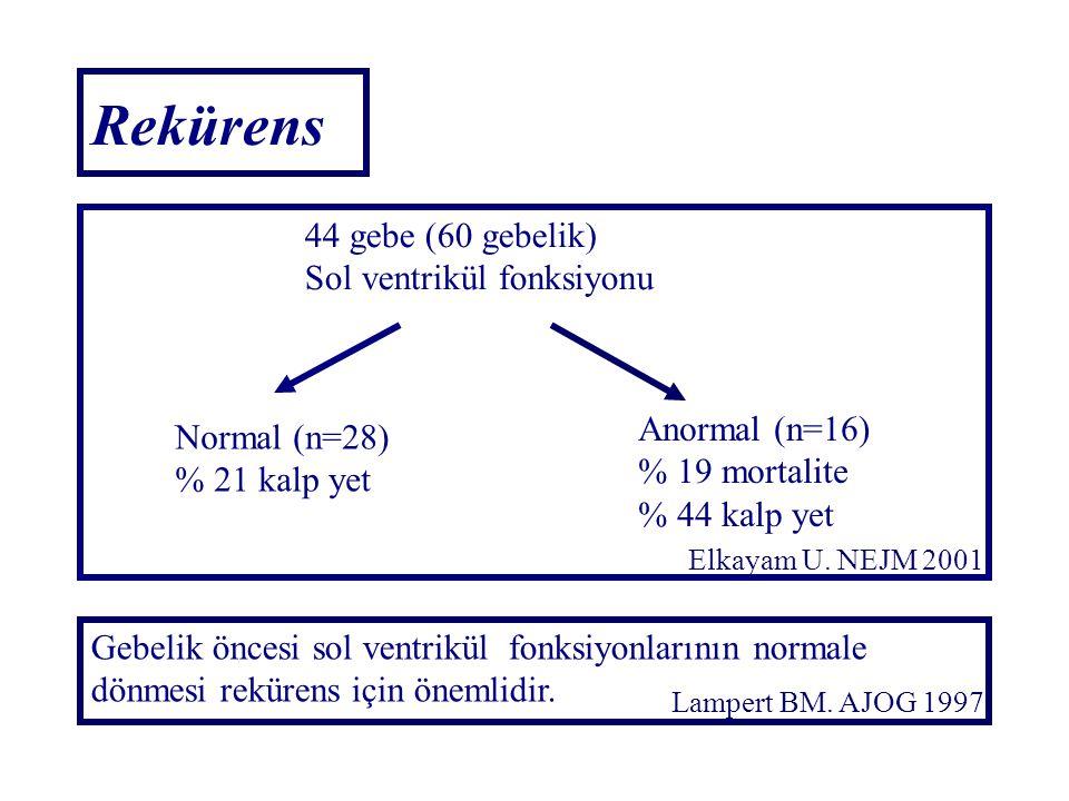 44 gebe (60 gebelik) Sol ventrikül fonksiyonu Normal (n=28) % 21 kalp yet Anormal (n=16) % 19 mortalite % 44 kalp yet Gebelik öncesi sol ventrikül fon
