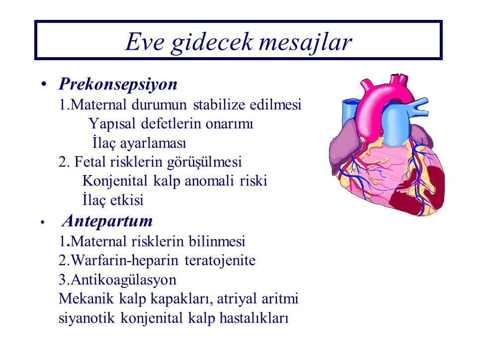 Eve gidecek mesajlar Prekonsepsiyon 1.Maternal durumun stabilize edilmesi Yapısal defetlerin onarımı İlaç ayarlaması 2. Fetal risklerin görüşülmesi Ko