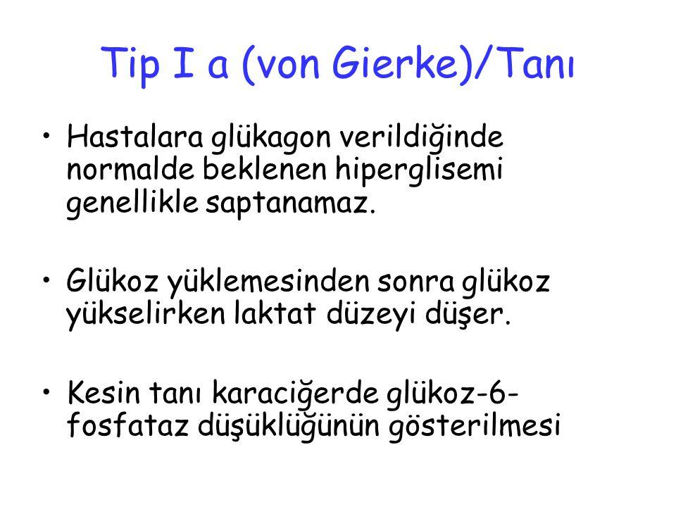Tip I a (von Gierke)/Tanı Hastalara glükagon verildiğinde normalde beklenen hiperglisemi genellikle saptanamaz. Glükoz yüklemesinden sonra glükoz yüks