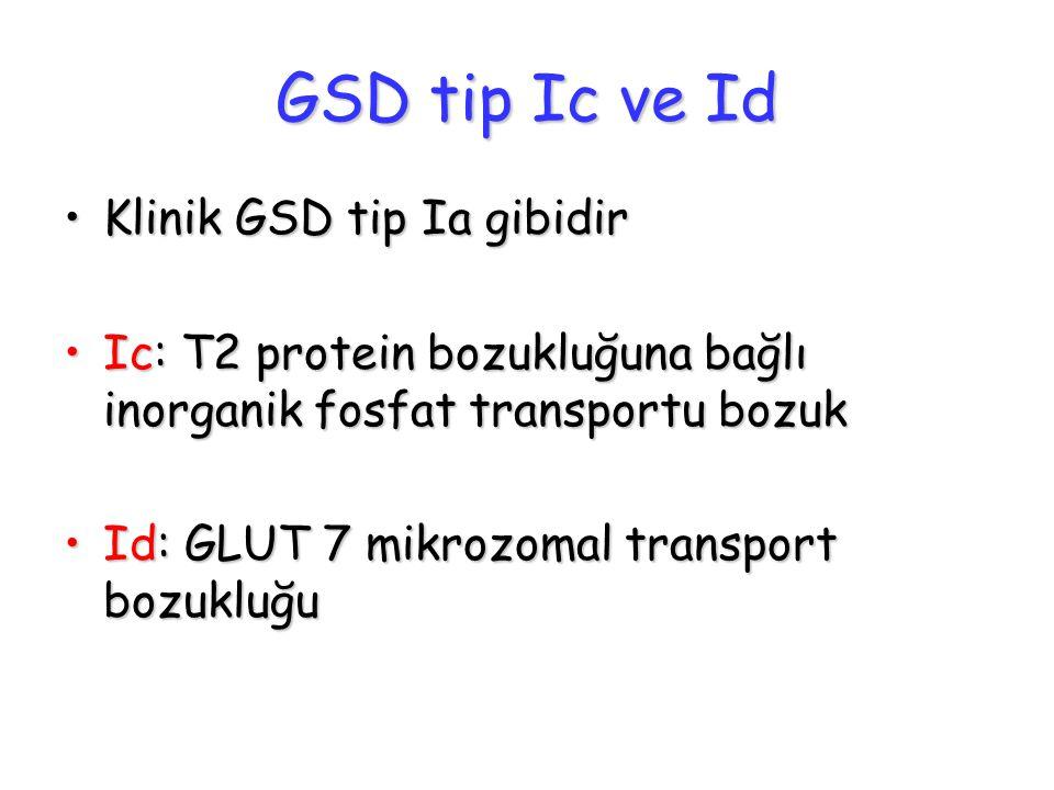 GSD tip Ic ve Id Klinik GSD tip Ia gibidirKlinik GSD tip Ia gibidir Ic: T2 protein bozukluğuna bağlı inorganik fosfat transportu bozukIc: T2 protein b