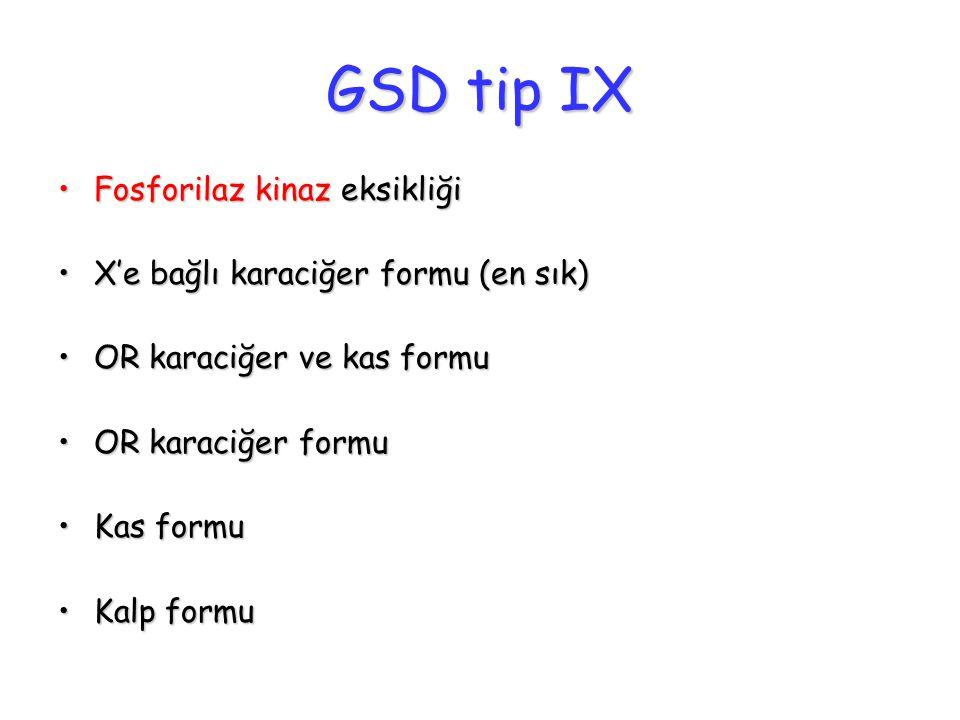 GSD tip IX Fosforilaz kinaz eksikliğiFosforilaz kinaz eksikliği X'e bağlı karaciğer formu (en sık)X'e bağlı karaciğer formu (en sık) OR karaciğer ve k