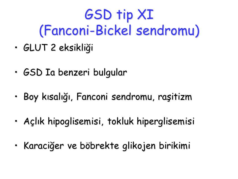 GSD tip XI (Fanconi-Bickel sendromu) GLUT 2 eksikliğiGLUT 2 eksikliği GSD Ia benzeri bulgularGSD Ia benzeri bulgular Boy kısalığı, Fanconi sendromu, r