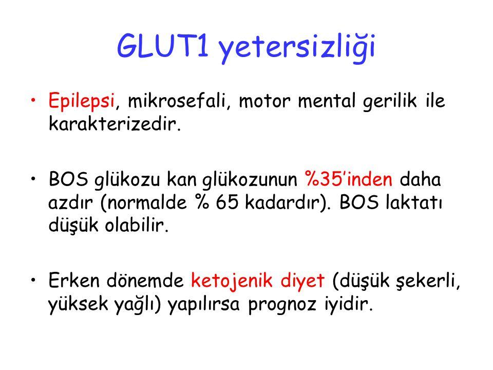 GLUT1 yetersizliği Epilepsi, mikrosefali, motor mental gerilik ile karakterizedir. BOS glükozu kan glükozunun %35'inden daha azdır (normalde % 65 kada