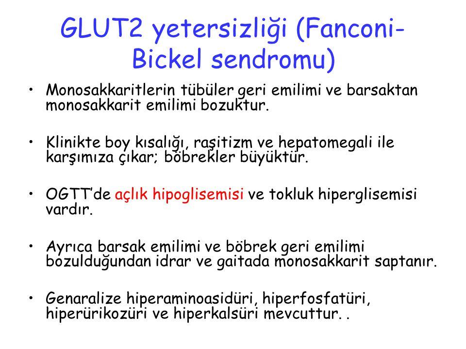 GLUT2 yetersizliği (Fanconi- Bickel sendromu) Monosakkaritlerin tübüler geri emilimi ve barsaktan monosakkarit emilimi bozuktur. Klinikte boy kısalığı