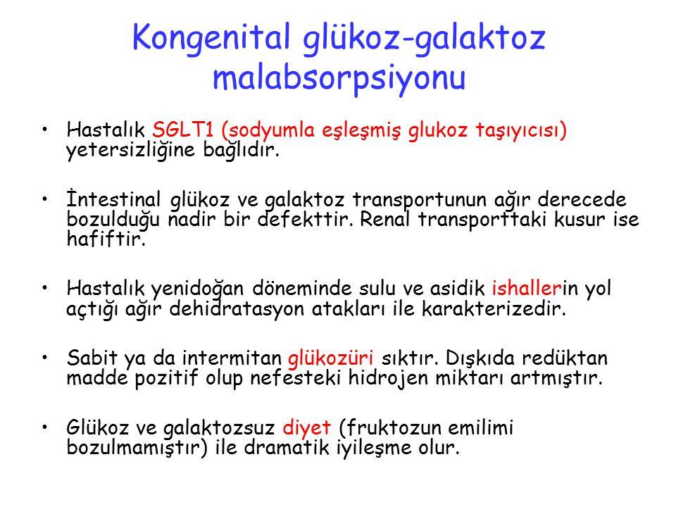 Kongenital glükoz-galaktoz malabsorpsiyonu Hastalık SGLT1 (sodyumla eşleşmiş glukoz taşıyıcısı) yetersizliğine bağlıdır. İntestinal glükoz ve galaktoz