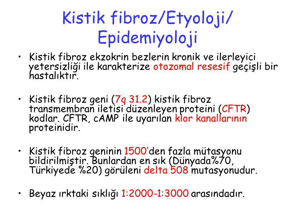 Kistik fibroz/Etyoloji/ Epidemiyoloji Kistik fibroz ekzokrin bezlerin kronik ve ilerleyici yetersizliği ile karakterize otozomal resesif geçişli bir h