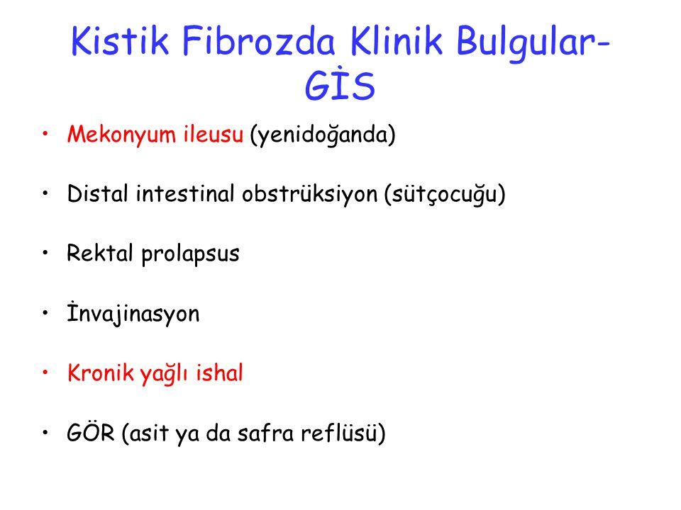 Kistik Fibrozda Klinik Bulgular- GİS Mekonyum ileusu (yenidoğanda) Distal intestinal obstrüksiyon (sütçocuğu) Rektal prolapsus İnvajinasyon Kronik yağ