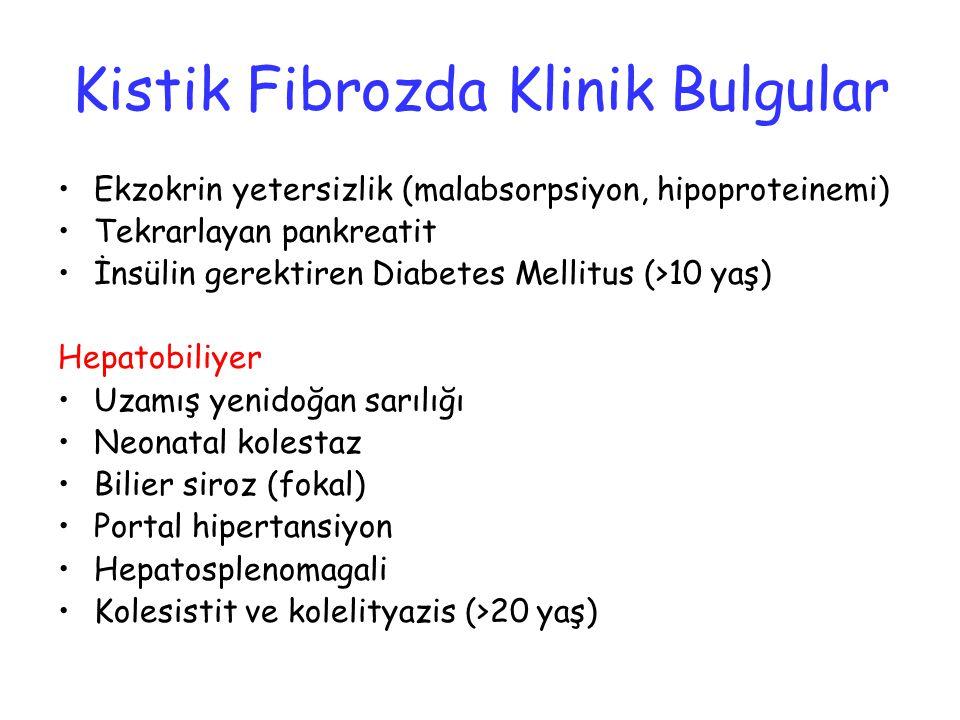 Kistik Fibrozda Klinik Bulgular Ekzokrin yetersizlik (malabsorpsiyon, hipoproteinemi) Tekrarlayan pankreatit İnsülin gerektiren Diabetes Mellitus (>10