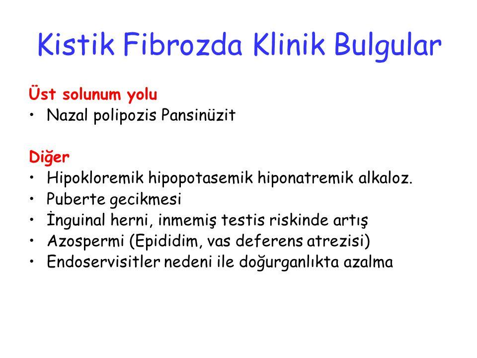 Kistik Fibrozda Klinik Bulgular Üst solunum yolu Nazal polipozis Pansinüzit Diğer Hipokloremik hipopotasemik hiponatremik alkaloz. Puberte gecikmesi İ