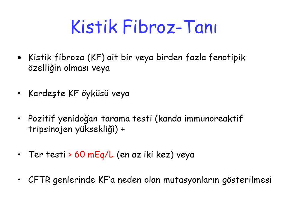 Kistik Fibroz-Tanı  Kistik fibroza (KF) ait bir veya birden fazla fenotipik özelliğin olması veya Kardeşte KF öyküsü veya Pozitif yenidoğan tarama te