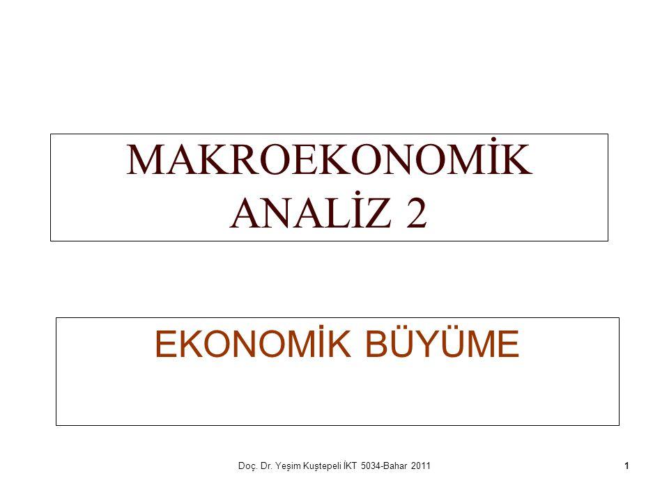 Doç. Dr. Yeşim Kuştepeli İKT 5034-Bahar 20111 MAKROEKONOMİK ANALİZ 2 EKONOMİK BÜYÜME