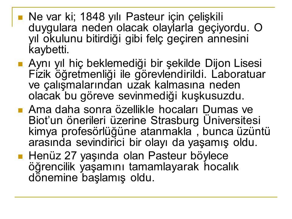 Ne var ki; 1848 yılı Pasteur için çelişkili duygulara neden olacak olaylarla geçiyordu.