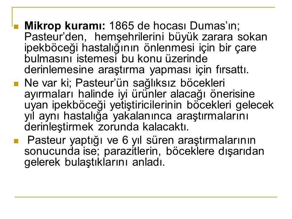 Mikrop kuramı: 1865 de hocası Dumas'ın; Pasteur'den, hemşehrilerini büyük zarara sokan ipekböceği hastalığının önlenmesi için bir çare bulmasını istemesi bu konu üzerinde derinlemesine araştırma yapması için fırsattı.