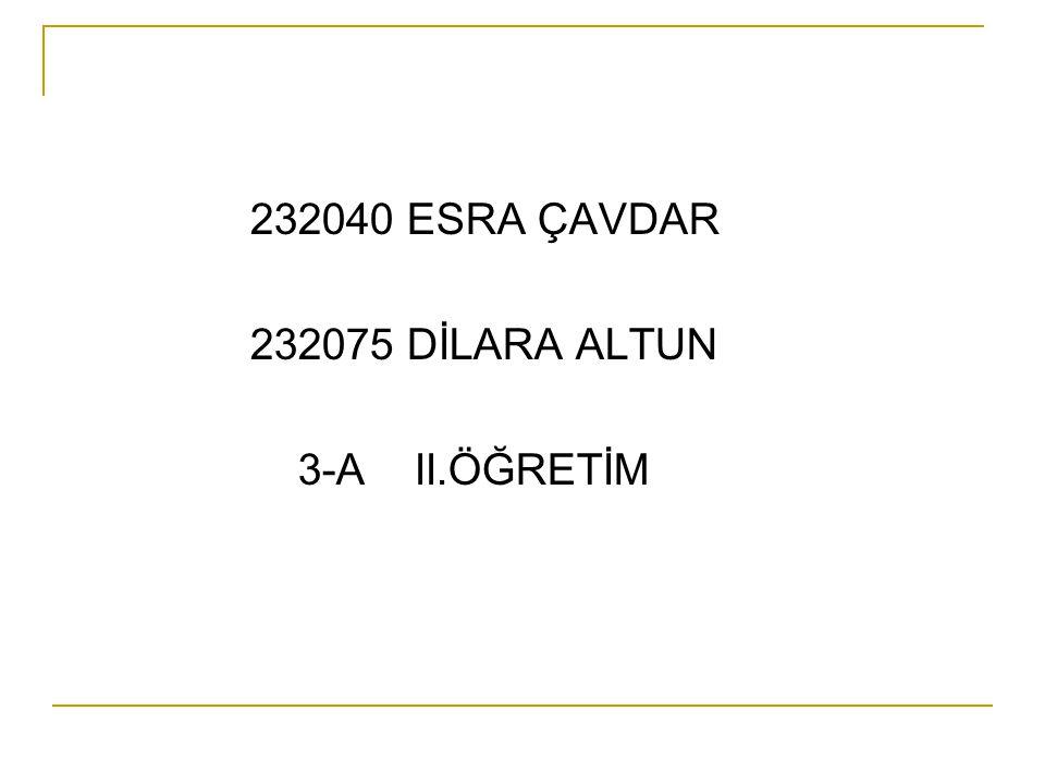 232040 ESRA ÇAVDAR 232075 DİLARA ALTUN 3-A II.ÖĞRETİM