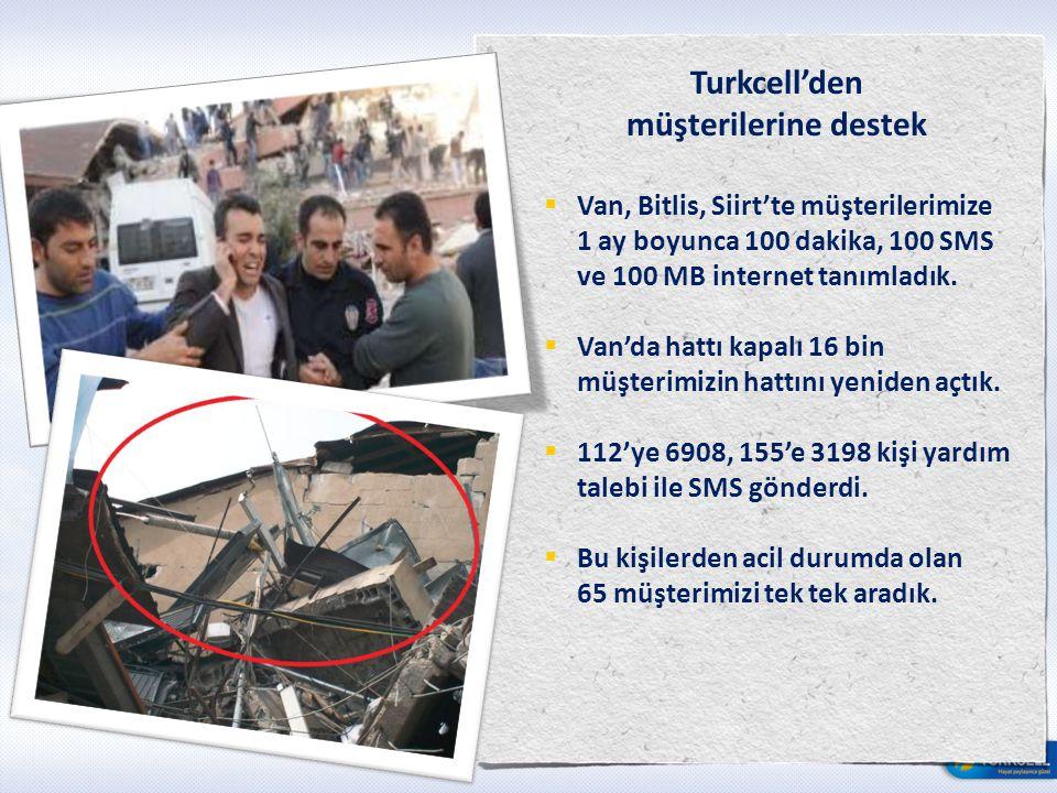 Turkcell'den müşterilerine destek  Van, Bitlis, Siirt'te müşterilerimize 1 ay boyunca 100 dakika, 100 SMS ve 100 MB internet tanımladık.