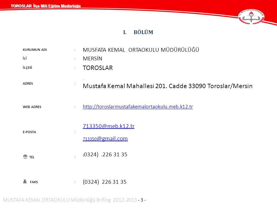 TOROSLAR İlçe Mili Eğitim Müdürlüğü Mustafa Kemal Ortaokulu Müdürlüğümüzde: Mustafa Kemal Ortaokulu Müdürlüğü Personel Sayısı 2011-20122012-2013 Müdür 11 Müdür Baş yardımcısı ----------- Müdür Yardımcısı 11 Öğretmen 27 Memur 1 - Hizmetli 1 1 MUSTAFA KEMAL ORTAOKULU Müdürlüğü Brifing 2012-2013 - 4 - II.